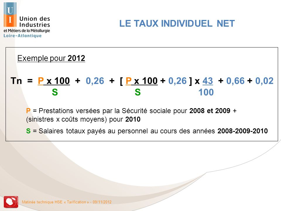 LE TAUX INDIVIDUEL NET Exemple pour 2012. Tn = P x 100 + 0,26 + [ P x 100 + 0,26 ] x 43 + 0,66 + 0,02.